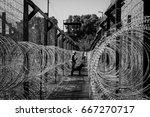 prison fence phuquoc  vietnam   ... | Shutterstock . vector #667270717