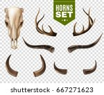 realistic set of cow skull and... | Shutterstock .eps vector #667271623