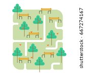 park map. path and tree. bench... | Shutterstock .eps vector #667274167