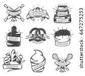 black isolated vintage bakery... | Shutterstock .eps vector #667275253