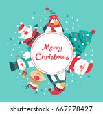christmas card with santa ... | Shutterstock .eps vector #667278427