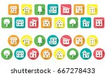 icon of simple house and tree   ... | Shutterstock .eps vector #667278433