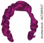 trendy woman hairs bright pink... | Shutterstock .eps vector #667289317