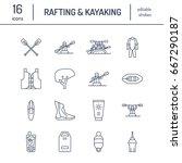 rafting  kayaking flat line... | Shutterstock .eps vector #667290187
