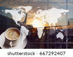 airport coffee and traveling... | Shutterstock . vector #667292407
