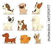Cute Cartoon Dog Vector Set....