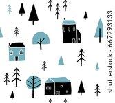 scandinavian geometric seamless ... | Shutterstock .eps vector #667293133