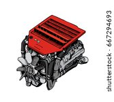 the drawn engine on a white... | Shutterstock .eps vector #667294693