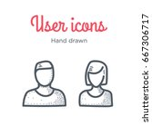 user icons set. male and female.... | Shutterstock .eps vector #667306717