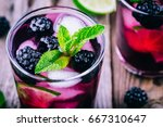 blackberry smash cold cocktail  ... | Shutterstock . vector #667310647