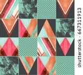 abstract squares and triangles... | Shutterstock . vector #667311913