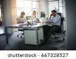 business people working... | Shutterstock . vector #667328527