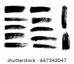 set of black paint  ink brush... | Shutterstock .eps vector #667343047