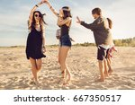 group of friends having a... | Shutterstock . vector #667350517