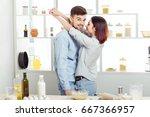 happy couple in love cooking... | Shutterstock . vector #667366957