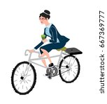 business woman with coffee ride ... | Shutterstock .eps vector #667369777