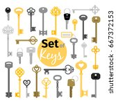 antique and modern keys in flat ... | Shutterstock .eps vector #667372153
