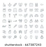 a set of simple outline party... | Shutterstock .eps vector #667387243