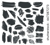 set of black ink brush strokes... | Shutterstock .eps vector #667387273