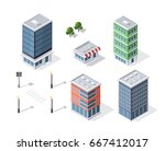 set of modern isometric... | Shutterstock .eps vector #667412017