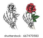 Stock vector rose flower in human skeleton hand vector bright and silhouette on white background 667470583