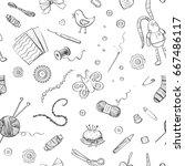 vector pattern handmade ... | Shutterstock .eps vector #667486117