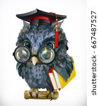 wise owl. cartoon character ... | Shutterstock .eps vector #667487527