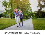 mother and daughter playing... | Shutterstock . vector #667493107
