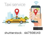 taxi service. hands with...   Shutterstock .eps vector #667508143
