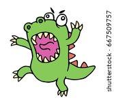 Mad Cartoon Dinosaur. Vector...