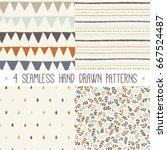 Stock vector set of four hand drawn abstract seamless patterns in vector collection of autumn backgrounds in 667524487