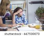mother and teen daughter... | Shutterstock . vector #667530073