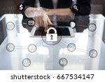 cyber security  data protection ... | Shutterstock . vector #667534147