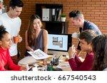 casual asian businesswoman... | Shutterstock . vector #667540543