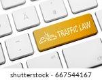 traffic law key on keyboard | Shutterstock . vector #667544167