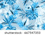 floral blue mono color... | Shutterstock . vector #667547353