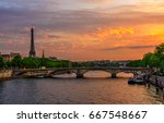 sunset view of eiffel tower and ... | Shutterstock . vector #667548667