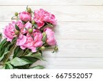 bouquet of pink peonies  on a... | Shutterstock . vector #667552057