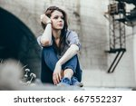 outdoors portrait of beautiful... | Shutterstock . vector #667552237