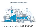 construction of houses ... | Shutterstock .eps vector #667560643