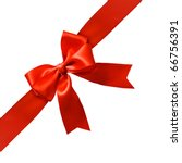 Small photo of Big red holiday bow on white background