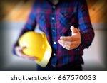 portrait of  woman  architect... | Shutterstock . vector #667570033