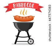 bbq or barbecue party... | Shutterstock .eps vector #667574383