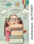 beautiful cute little girl...   Shutterstock . vector #667574857