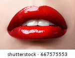 close up of woman's lips with... | Shutterstock . vector #667575553