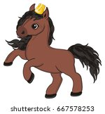 brown horse with golden crown | Shutterstock . vector #667578253