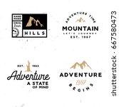 set of mountain themed retro... | Shutterstock .eps vector #667580473