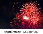 fireworks in the night sky....   Shutterstock . vector #667584907