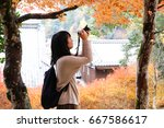 japanese young woman in autumn... | Shutterstock . vector #667586617