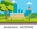 bench summer vector flat... | Shutterstock .eps vector #667593343